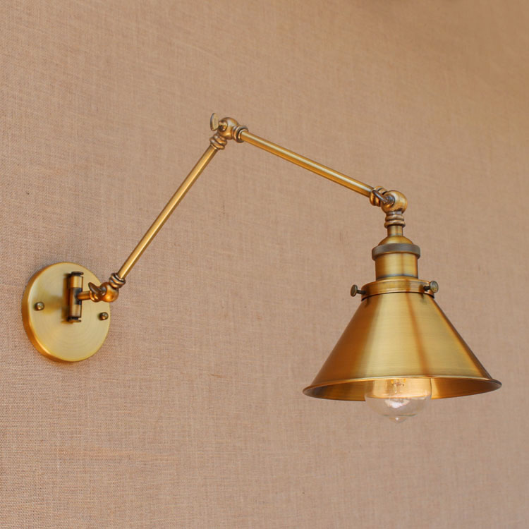 все цены на RH Rustic Brass Loft Style Industrial Wall Lamp Vintage Adjustable Long Swing Arm Light Fixtures Wall Sconces Arandela Lighting
