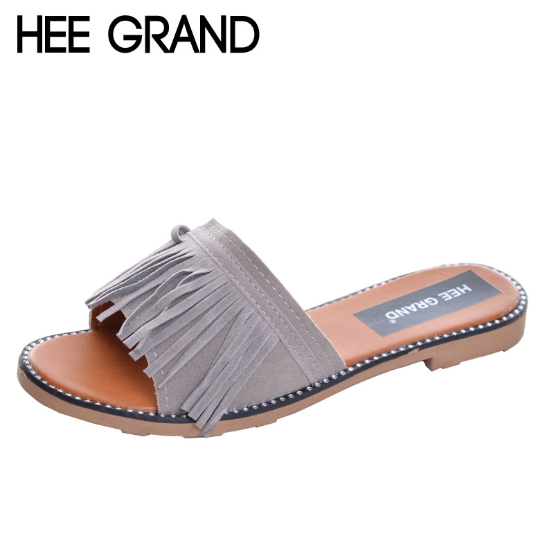 HEE GRAND Tassel Slippers Vintage Flip Flops Summer Gladiator Slices Platform Shoes Woman Slip On Casual Women Shoes XWZ2737 hee grand summer flip flops gladiator sandals slip on wedges platform shoes woman gold silver casual flats women shoes xwz2907