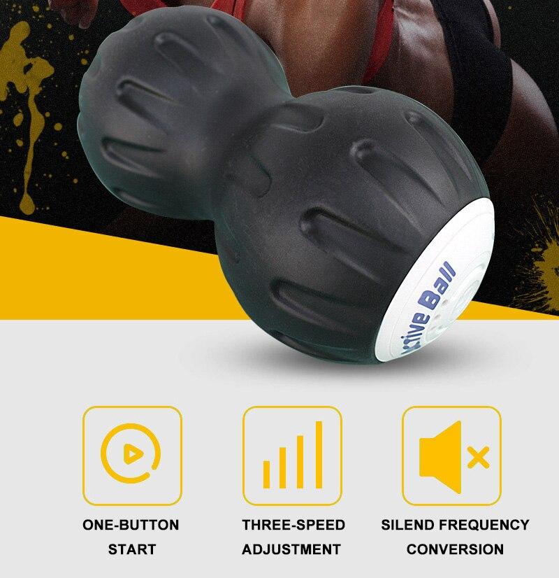 Yoga électrique vibrant Massage arachide Fitness balle pour pied bras taille Relax Silicone trois vitesses réglable importé technologie