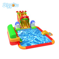 Customized Inflatable Giant Water Park Amusemnt Park Water Slide With Pool
