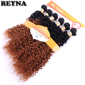Черно-коричневые афро кудрявые вьющиеся волосы, волнистые высокотемпературные синтетические волосы для наращивания, цветные пряди волос с...
