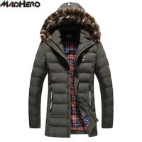 Madhero毛皮の襟と帽子取り外し可能な暖かい雪の男性のパーカー蜂パターン厚い冬のロングジャケット男性コート雪水増し上着