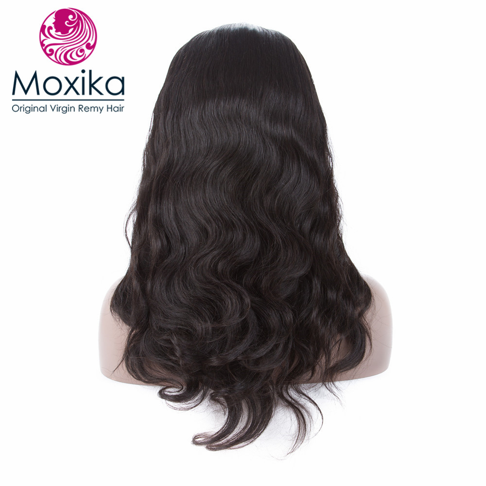 Moxika Pre Plucked Full Lace Human Hair Wigs 180% Density Glueless Brazilian Body Wave Full Lace Wig With Baby Hair Remy 10-24