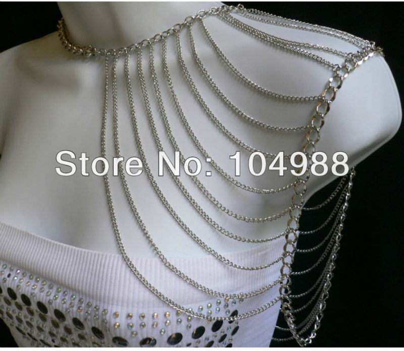 FREE SHIPPING New arrival!NEW WOMEN GOLD/SILVER COLOUR MULTI LAYERS METAL SHOULDER BODY HARNESS CHAINS FASHION JEWELRY