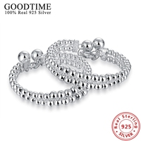 Real Solid 925 Sterling Silver Beads Balls Bracelets Bangles For Women Party Jewelry 925 Silver Bangles