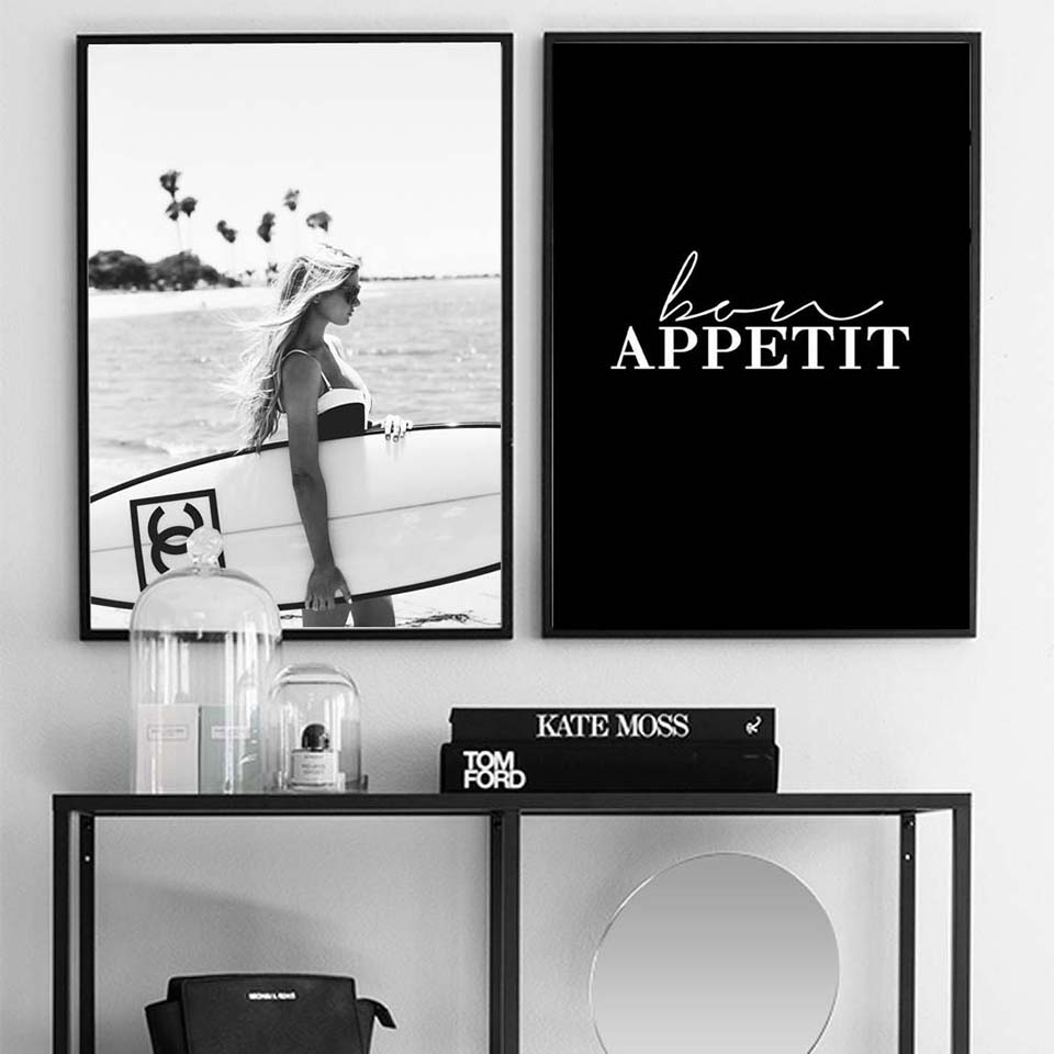 HTB134tYSXzqK1RjSZFvq6AB7VXaC Poster Fashion Surf Woman Letter Nordic Wall Pop Art Canvas Painting Black White Vogue Picture Prints Living Room For Home Decor