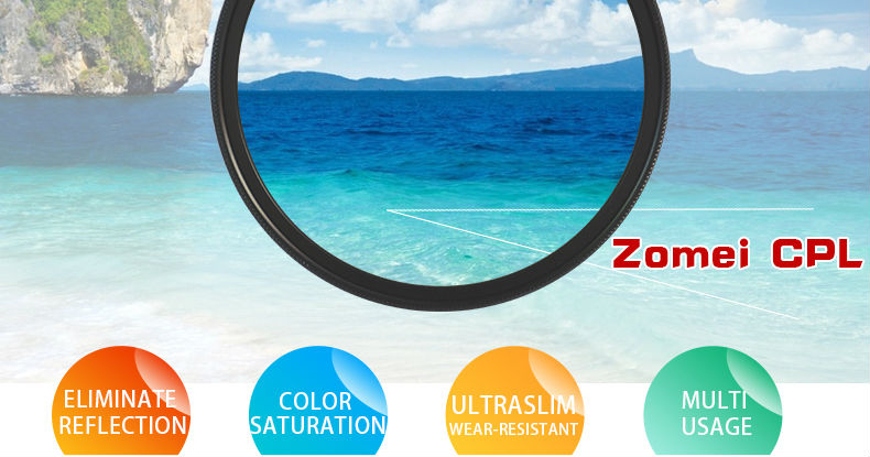 Zomei 52mm CPL Circular Polarizer Polarizing Filter for Canon Nikon Sony Camera Lens 40.5/49/52/55/58/62/67/72/77/82mm 6