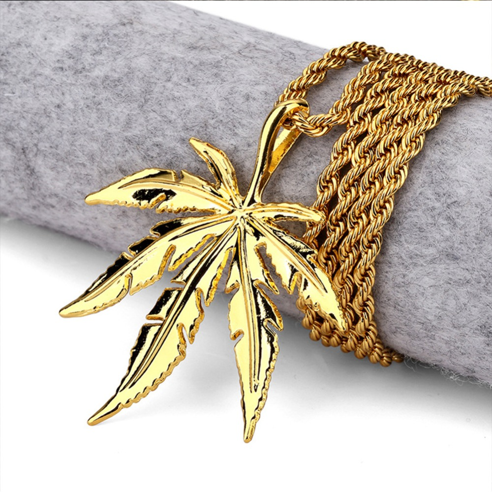 Men Women Golden Silver Plated Hemp Leaf Pendants Weed Chains Hip Hop...