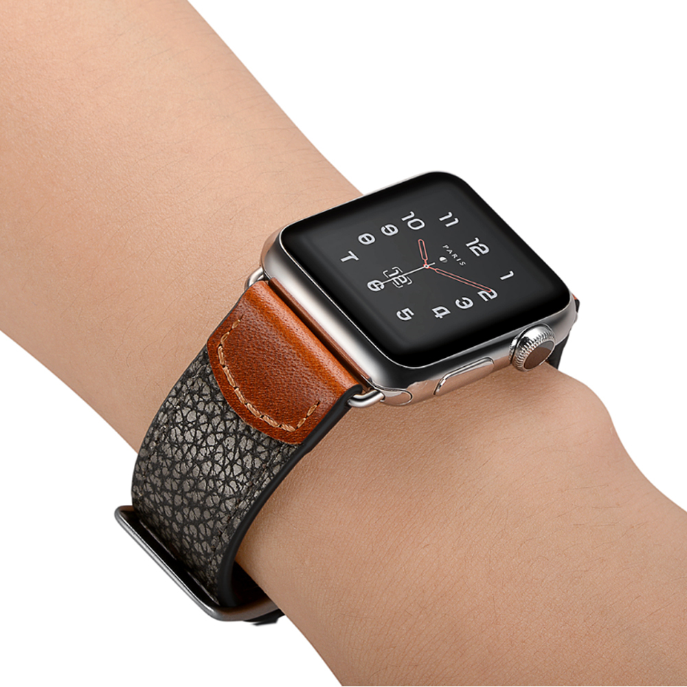 Leather strap for Apple watch band 4 44mm 40mm Watchband Iwatch series 4 3 2 1 42mm 38mm bracelet wrist belt watch accessories leather for apple watch band 38mm 42mm butterfly buckle strap iwatch series 4 3 2 1 watchband replacement accessories wrist belt