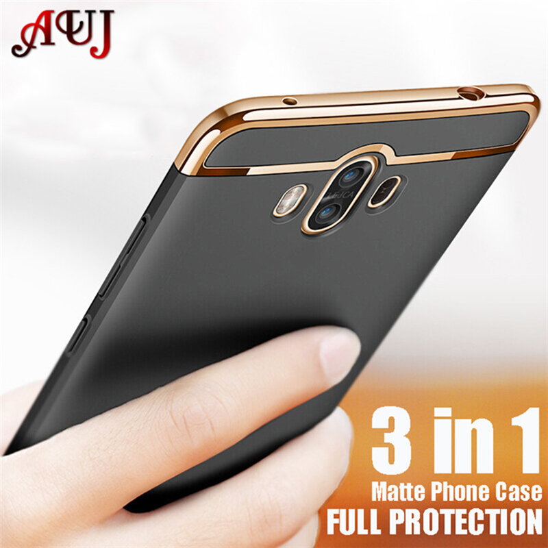 Luxury Phone Cases for Huawei P10 P20 P8 P9 Lite Plus Mate 8 9 10 Pro Case Matte Plating Hard Plastic Back Cover 3 in 1 Bumper