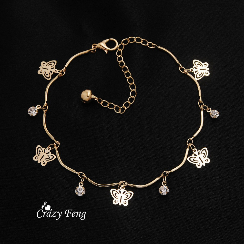 Free shipping top quality trendy summer style Brand New fashion hot butterfly crystal jewelry charm bracelet & anklet for women 5