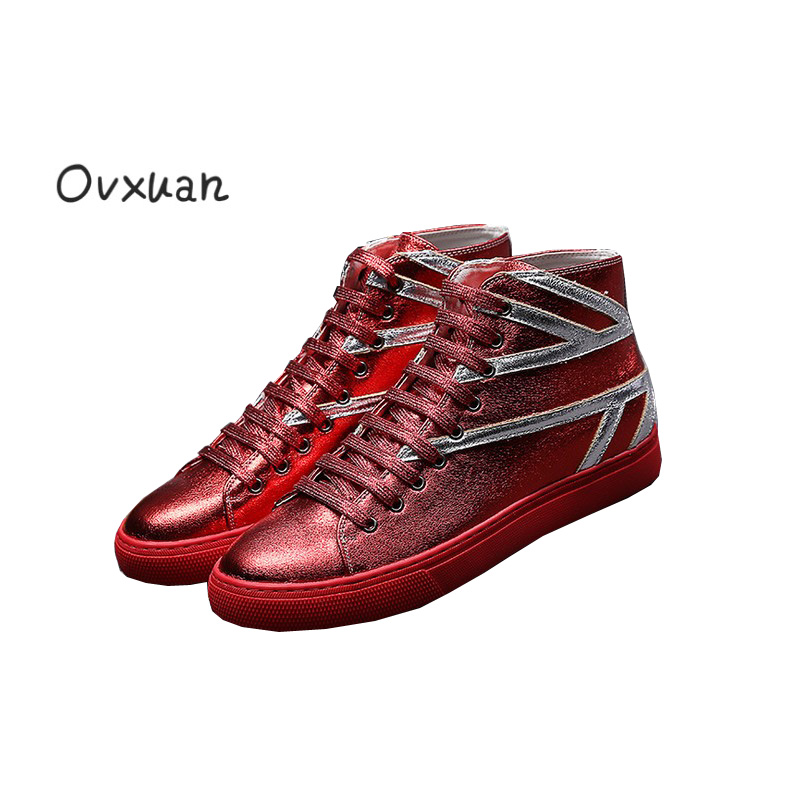 Ovxuan Patent Leather High Casual Sneakers font b Men b font Striped Design Fashion Party Outdoor