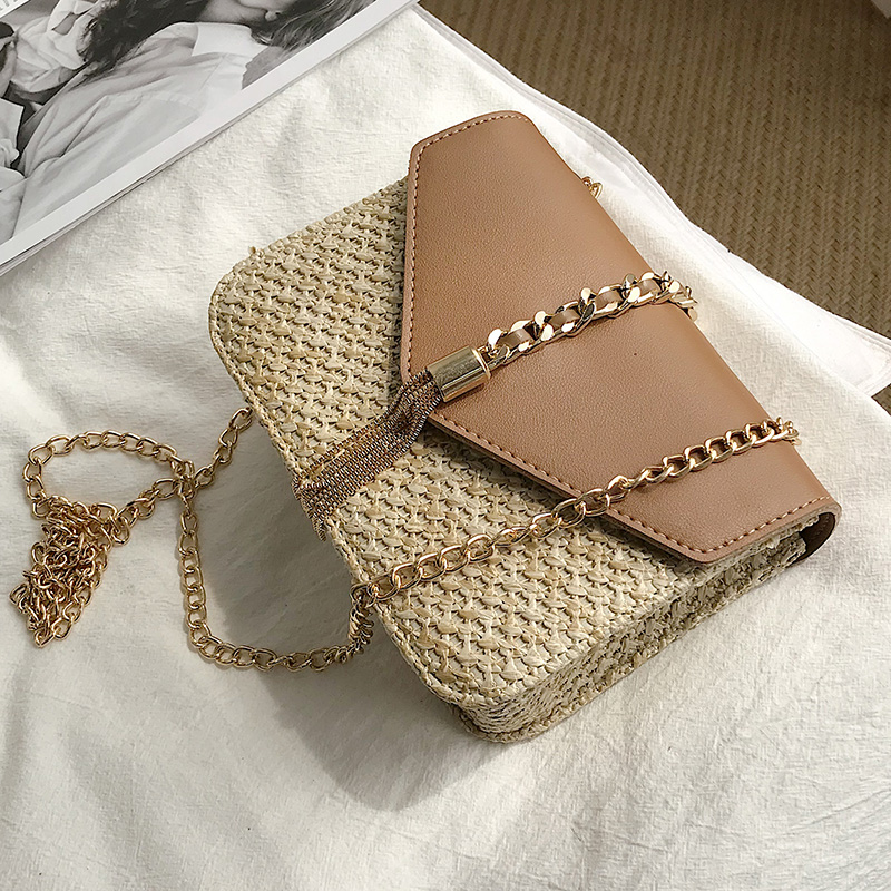 Fringed Chain Small Flap Bag For Women 2019 New Straw Crossbody Bags Ladies Summer Messenger Shoulder Handbags And Purses