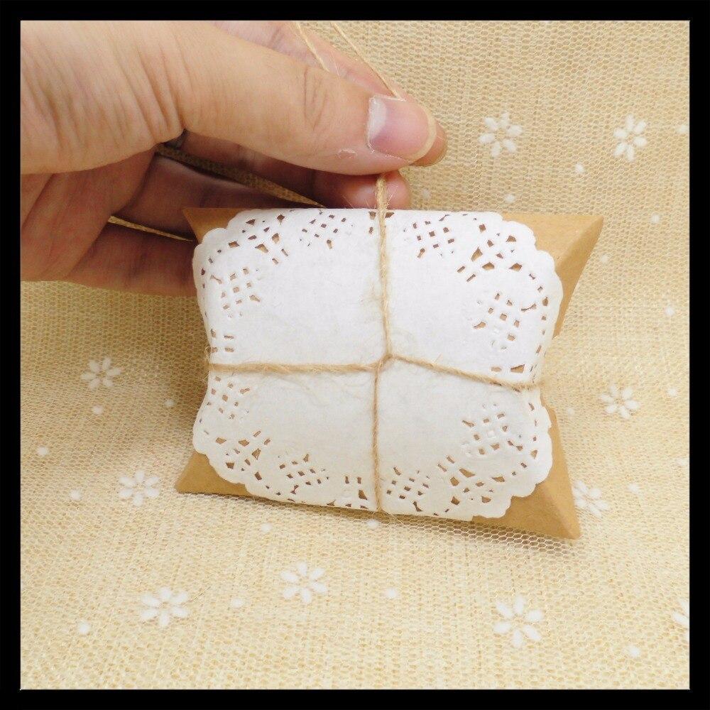 100pcs Decoupage Paper Kraft Pillow Candy Box Wedding Souvenirs Baby