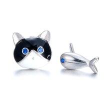 цена на Hot sell fashion little cat & fish women earring 925 sterling silver ladies`stud earrings jewelry birthday gift wholesale