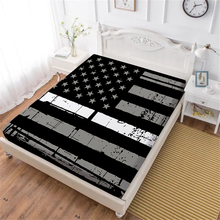 Black American Flag Bed Sheet Star Striped Patchwork Fitted Sheet Twin Full King Queen Bedclothes Deep