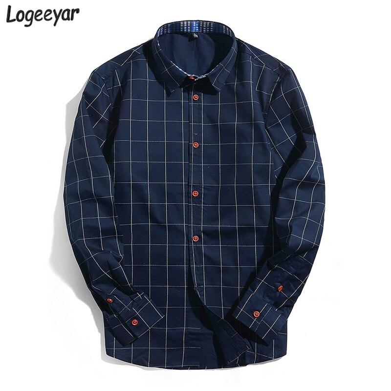 2017 new fashion mens plaid shirt cotton high quality for Mens casual plaid shirts