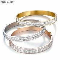 Luxury Three Row CZ Crystal Buckle Love Bracelet Stainless Steel Cuff Bracelets Bangles For Women Rose