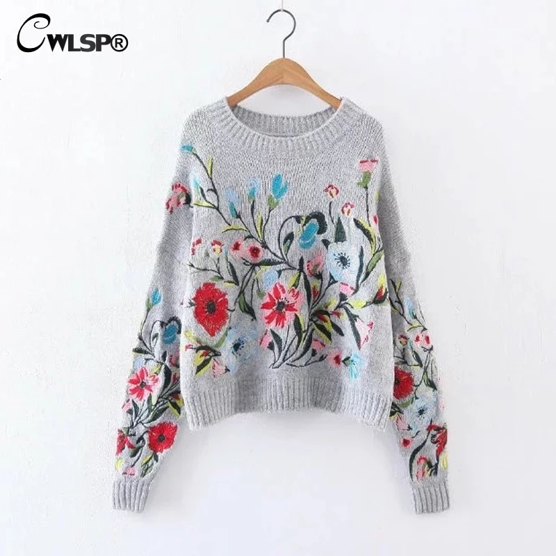 CWLSP Autumn Winter Embroidery Sweater Women Chinese Clothing Mohair Knitted Jumper Casual Long Sleeve Pullovers pull