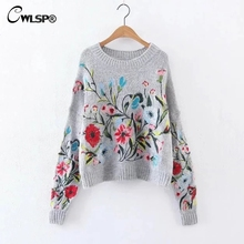 CWLSP Autumn Winter Embroidery Sweater Women Chinese Clothing Mohair Knitted Jumper Casual Long Sleeve Pullovers  pull femme