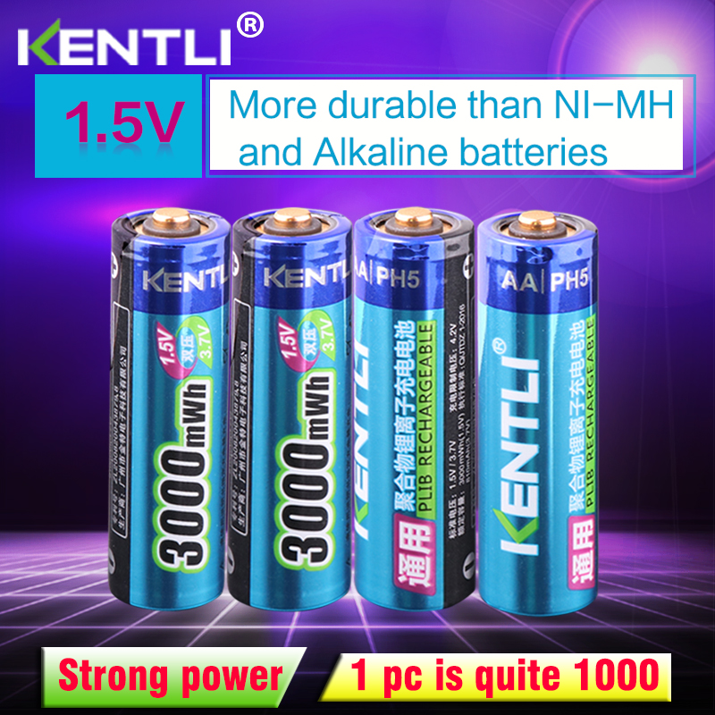 KENTLI 4pcs lot Stable voltage 3000mWh aa batteries 1 5V rechargeable battery polymer lithium li ion