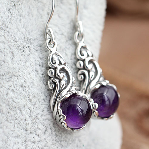 925 silver inlaid Natural stone Earrings three-dimensional carved retro female