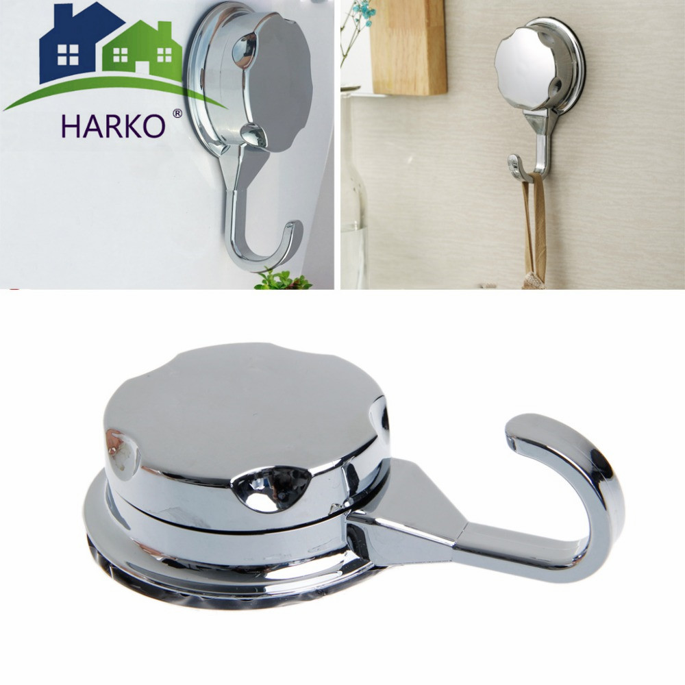New Strong Chromed Suction Cup Kitchen Hooks For Towel Strong Adhesive Hooks Bathroom Wall Hooks Heavy Duty PVC Powerful Hooks