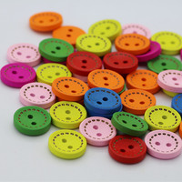1000pcs/pack Wholesale round colored dotted wooden buttons DIY handmade accessories 7 colors mixed colors 15MM