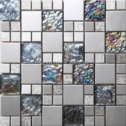 Black metal crystal iridescent glass 3d mosaic tile wall for Black 3d tiles wallpaper