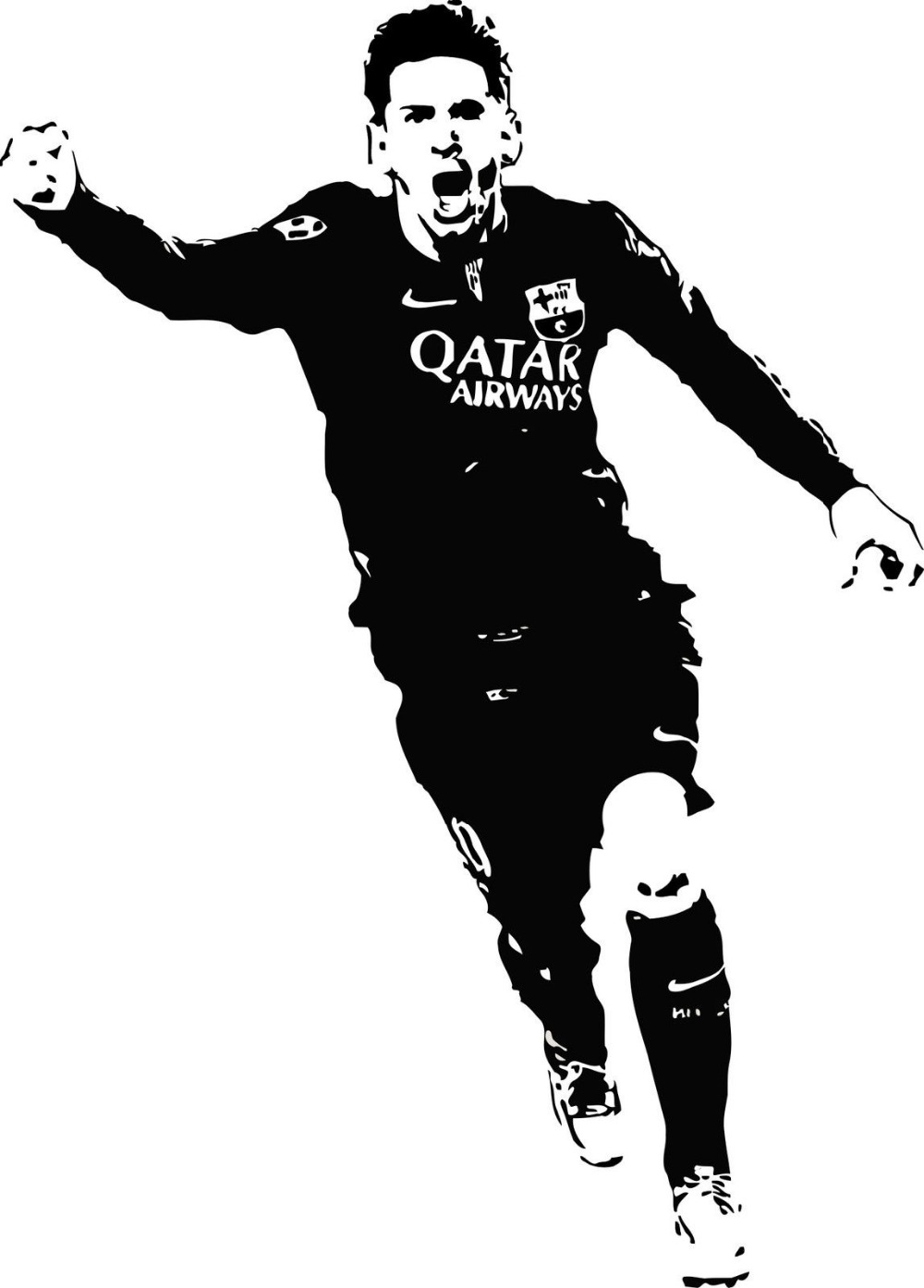 Lionel Messi Art Decals Football Player Wall Stickers Nontoxic Pvc Wall Decal for Living Room