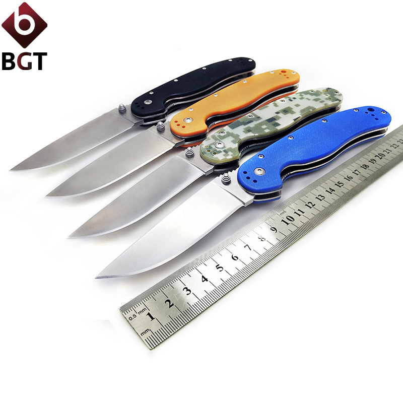 BGT Camping Folding Rat Knife AUS-8 Blade G10 Handle Tactical Hunting Combat Survival Pocket EDC Knives Outdoor Rescue Tools hot sale ontario rat model 1 aus 8 folding blade fluorescent green g10 handle edc camping climbing tactical tool