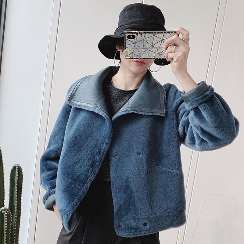 Réversible Mérinos Veste En Longues Manteau Manches Peau Femmes Bleu De Rf0327 Fourrure À Mouton Réel tvrqwztx7