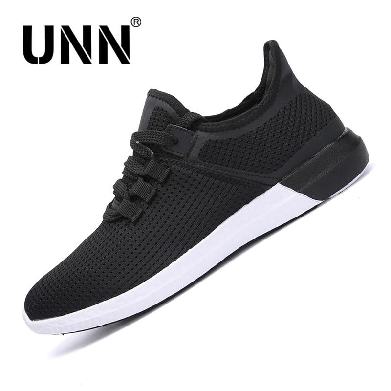 UNN Men Mesh Running Shoes Lace Up Summer Breathable Soft Light Sneakers Unisex Sport Women shoe Black Large Size EU 35-44
