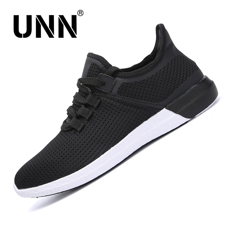 UNN Heren Mesh Super loopschoenen Lace Up Zomer Ademende Soft Sole Light Sneakers Unisex Sportschoen Black Size EU 35-44