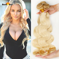 7a 613 Rubia Virginal del pelo Rubio Onda del Cuerpo Del Pelo Humano paquetes 4 unids Honey Blonde Hair Brasileño remy Rubio Cabello Humano extensiones