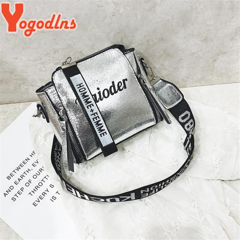 Yogodlns Fashion Tide Ladies Letter Handbags Wide Strap Chains Shoulder Bag Women Crossbody Bags Bolsa 2020 Girls Small Purse
