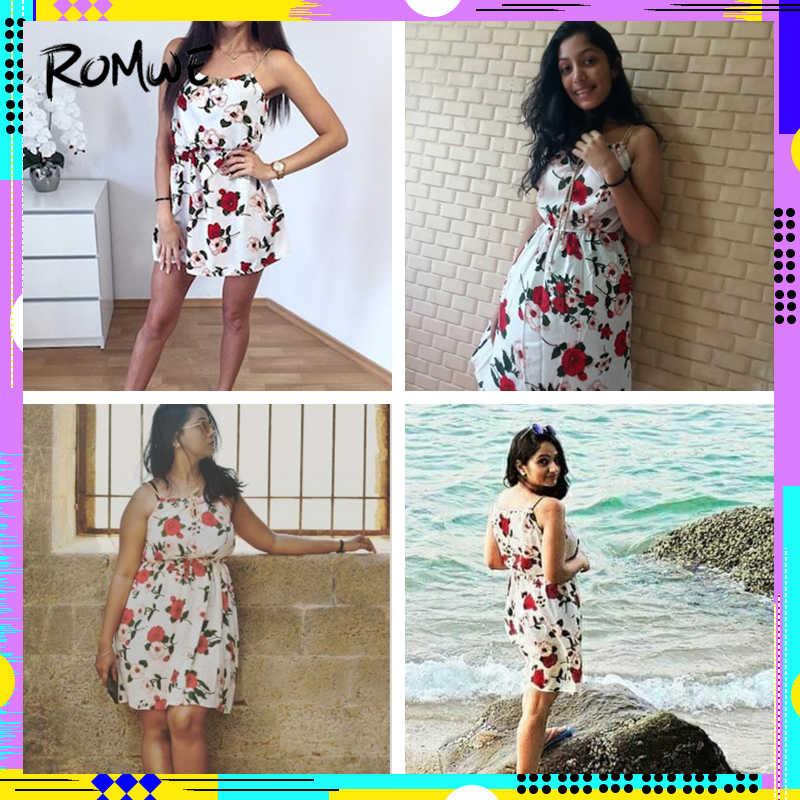65c862827b7 ... ROMWE Cute Floral Summer Dress Women Random Self Tie Casual Slip Midi  Dress 2018 New Faux