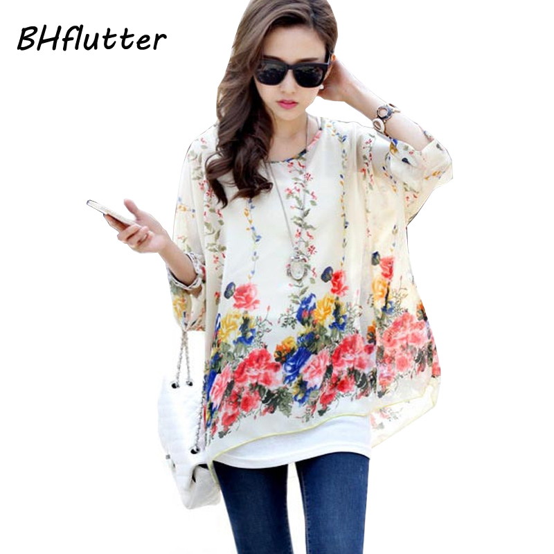 Blouse Shirt Women 2018 New Fashion Floral Print Summer Style Chiffon Blouses and Tops Women's Clothing Plus Size Shirts Blusas