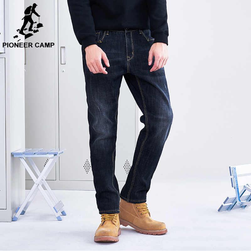 Pantalones Vaqueros Gruesos Pioneer Camp De Invierno Para Hombre Pantalones De Mezclilla Rectos Calidos Con Forro Interior Pantalones De Mezclilla Para Hombre De Calidad Pesada Azul Oscuro Anz803164 Pantalones Informales Aliexpress