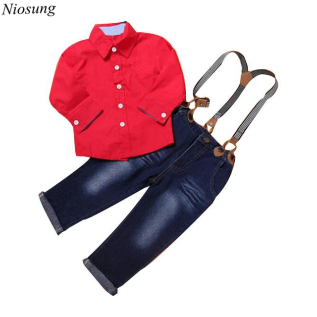 Niosung 1Set Kids Toddler Boys Handsome Red Long Sleeve Shirt+Braces Trousers Clothes Outfits Children Clothing Suit