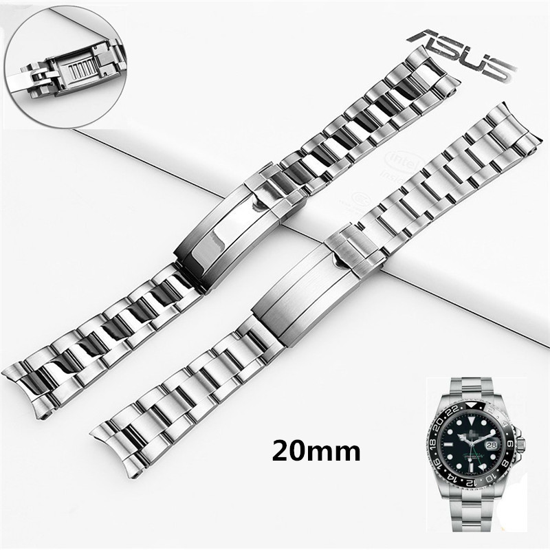 High quality Silver 316L Stainless Steel WatchBand 20mm Solid Band Bracelet with Oyster Lock For RX