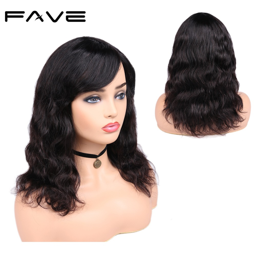 Brazilian Remy 100 Human Hair Wigs Body Wave With Bangs Natural Black Color For Women Free