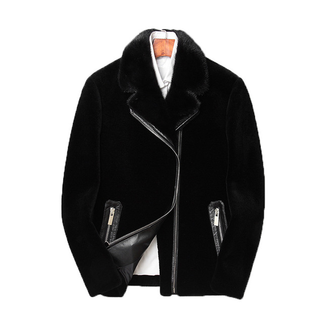 High Quality Men Real Fur Jacket New Fashion With Mink Fur Short Coat Casual Pocket Zipper Male Wool Outerwear Plus Size