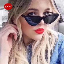 UVLAIK Fashion Cat Eye Sunglasses Women Brand Designer Vintage Retro Sun glasses Female Fashion Cateyes Sunglass UV400 Shades cheap Eyewear Plastic 50mm Adult 45mm Goggle TYJ755 Mirror UV400