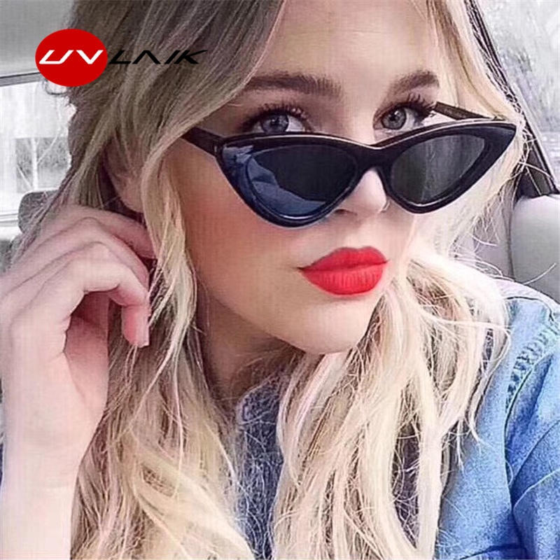 UVLAIK Fashion Cat Eye Sunglasses Women Brand Designer Vintage Retro Sun glasses Female Fashion Cateyes Sunglass UV400 Shades stylish cut out street fashion two color match cat eye mirrored sunglasses for women