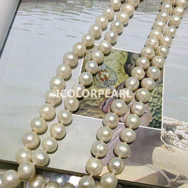 Classic 120-130CM Long 9-10mm Nearround White Freshwater Pearl Sweater Necklace