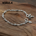 100% Genuine 925 Sterling Silver Vintage Punk Cross Crown Skull Link Chain Bracelet Thai Silver Jewelry for Man or Women