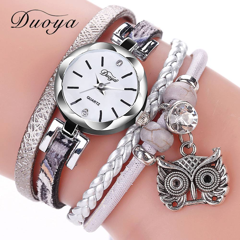 New Fashion Women Girls Watches Analog Quartz Owl Pendant Ladies Dress Bracelet Watches Relogio Feminino Casual Bayan Kol Saati