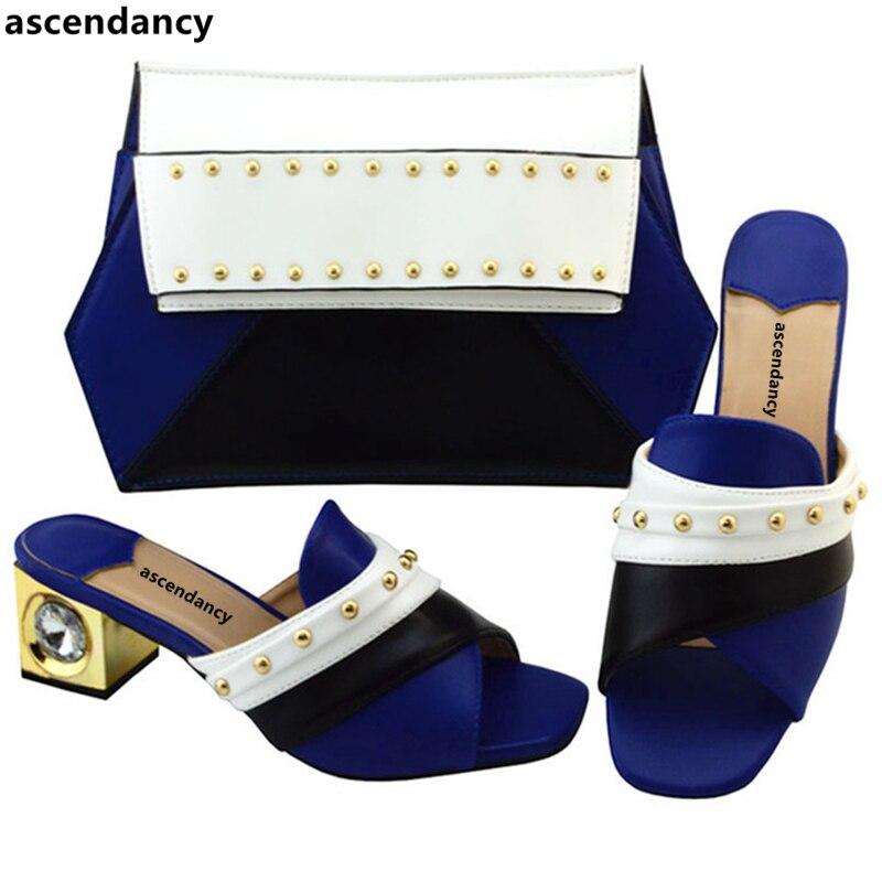 Gold Farbe Rote gelb Schuh Strass königliches Hochzeit Tasche Set purpurrot Italien Grau grün In Neue Hohe Schuhe rot Blau Und Qualität Frauen Afrikanische fqw4txnq5
