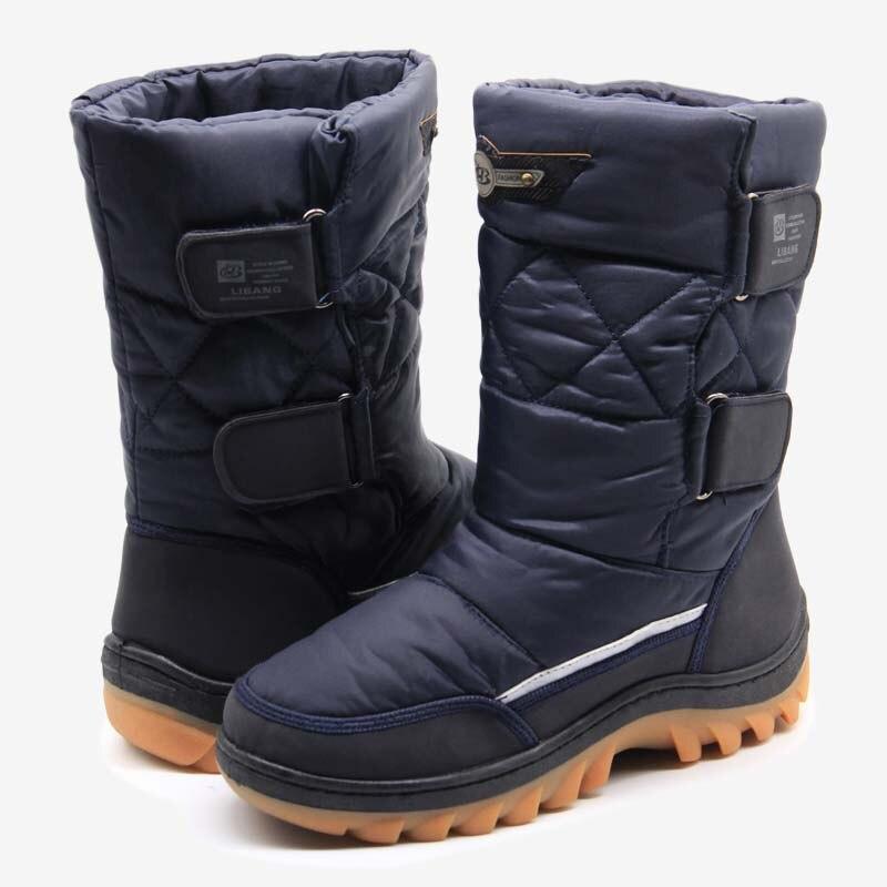 LIBANG 2018 Hommes D'hiver Chaussures de Neige Hommes Chauds Bottes Mi-mollet Hiver Chaussures pour Hommes Marque De Mode Doux Hommes chaussures Plus La Taille 41-46